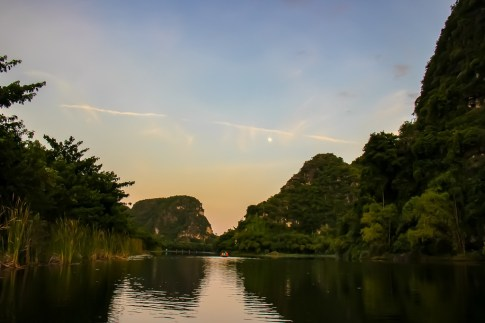 Amazing sunset at Trang An, Ninh Binh Province, Vietnam