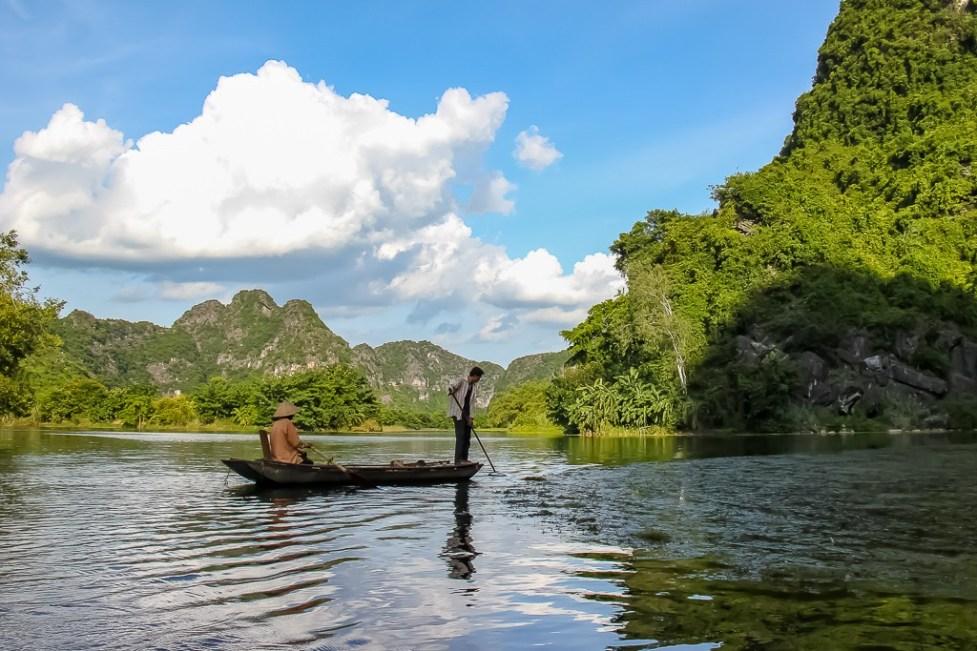 Typical boat at Trang An Boat, Ninh Binh Province, Vietnam