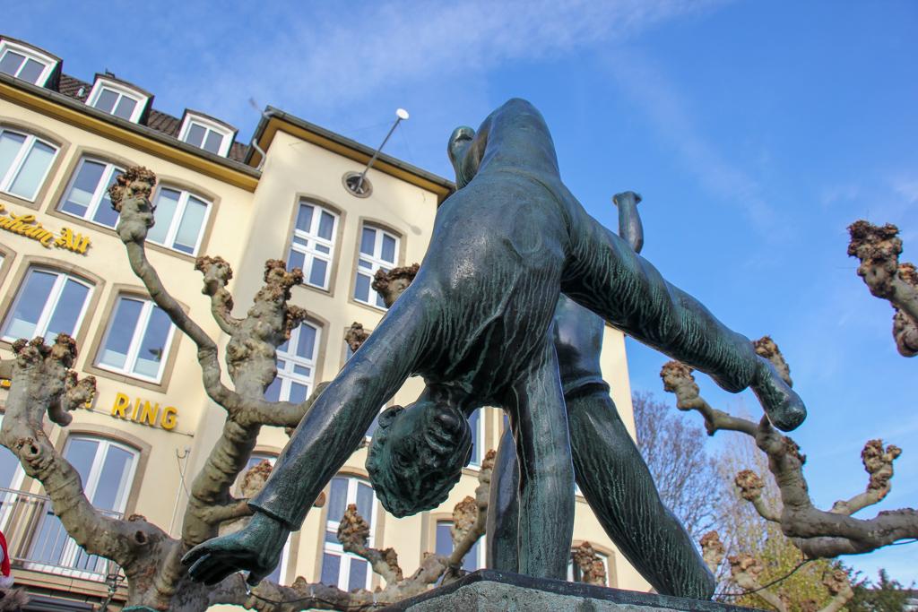 Look for the cartwheel statues in Dusseldorf, Germany