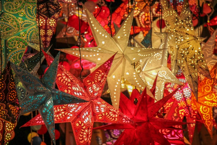 Colorful Christmas Stars, Dusseldorf, Germany