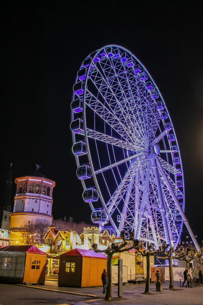 Neon Ferris Wheel, Dusseldorf Christmas Market, Germany