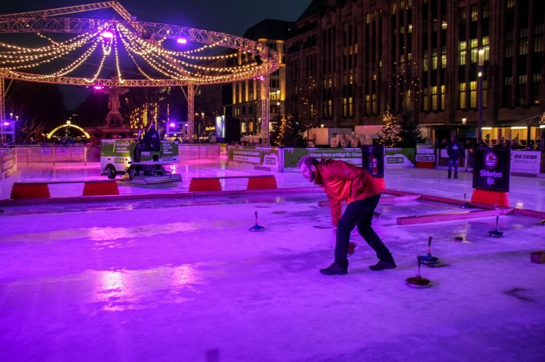Curling Ice Bowling, Christmas Market, Dusseldorf, Germany