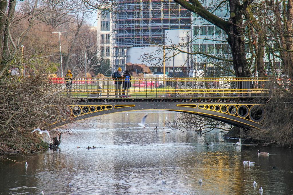 Lake at Bridge at Hofgarten, Dusseldorf, Germany