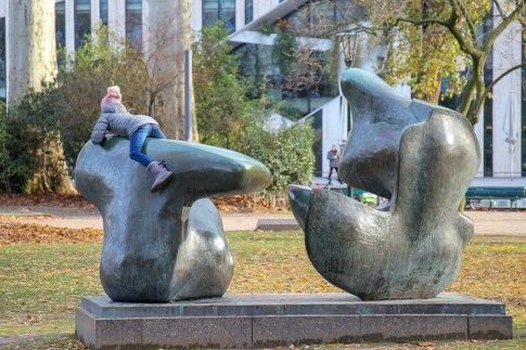 Playing on the sculpture, Dusseldorf, Germany