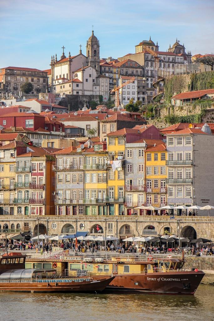View of Ribeira District and Cais da Ribeira Porto, Portugal