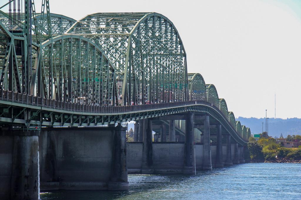 View of I5 Bridge, Vancourver Farmers Market, Vancouver, WA