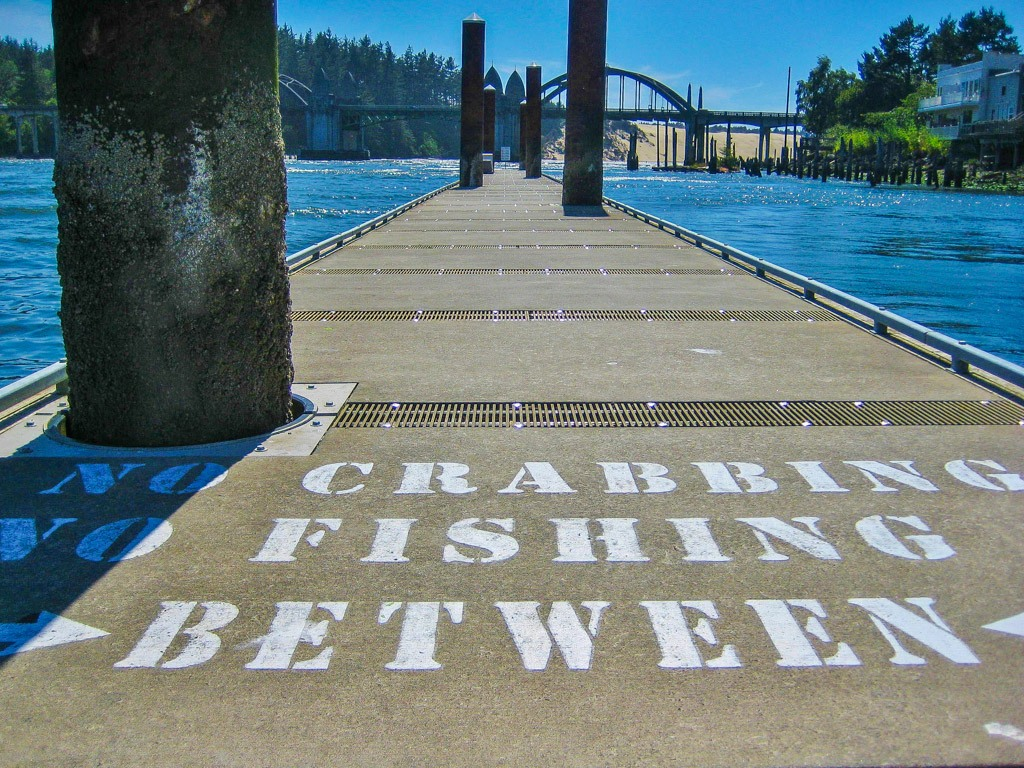 Walking along the Docks at Florence, Oregon