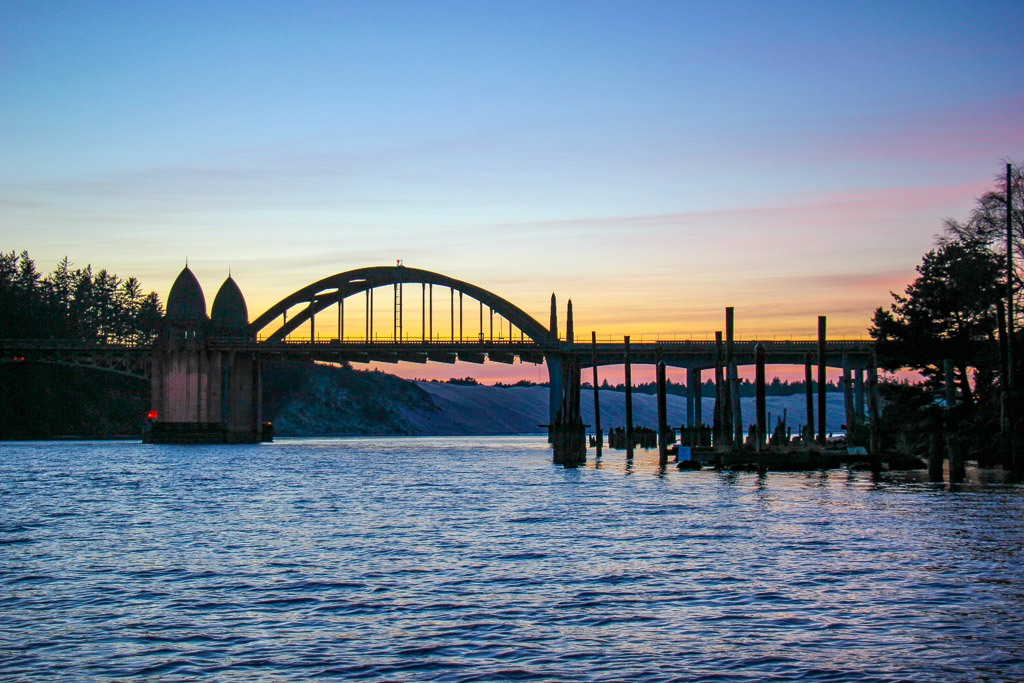 Sunset view of the Siuslaw River Bridge, Florence, Oregon