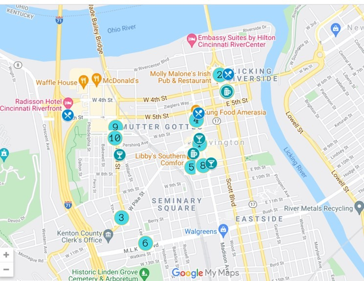 Covington Kentucky Restaurants and Bars MAP by JetSettingFools.com