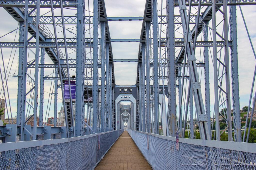 Walking across the Purple People Bridge, Newport, KY