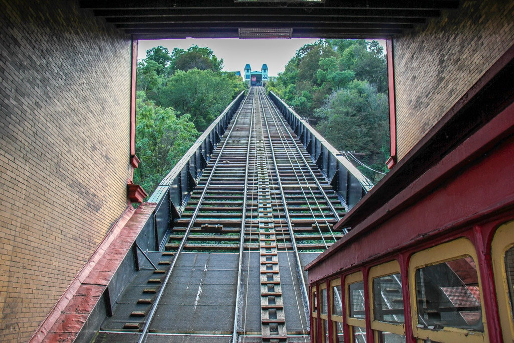 Riding up the Duquesne Incline, Pittsburgh, PA