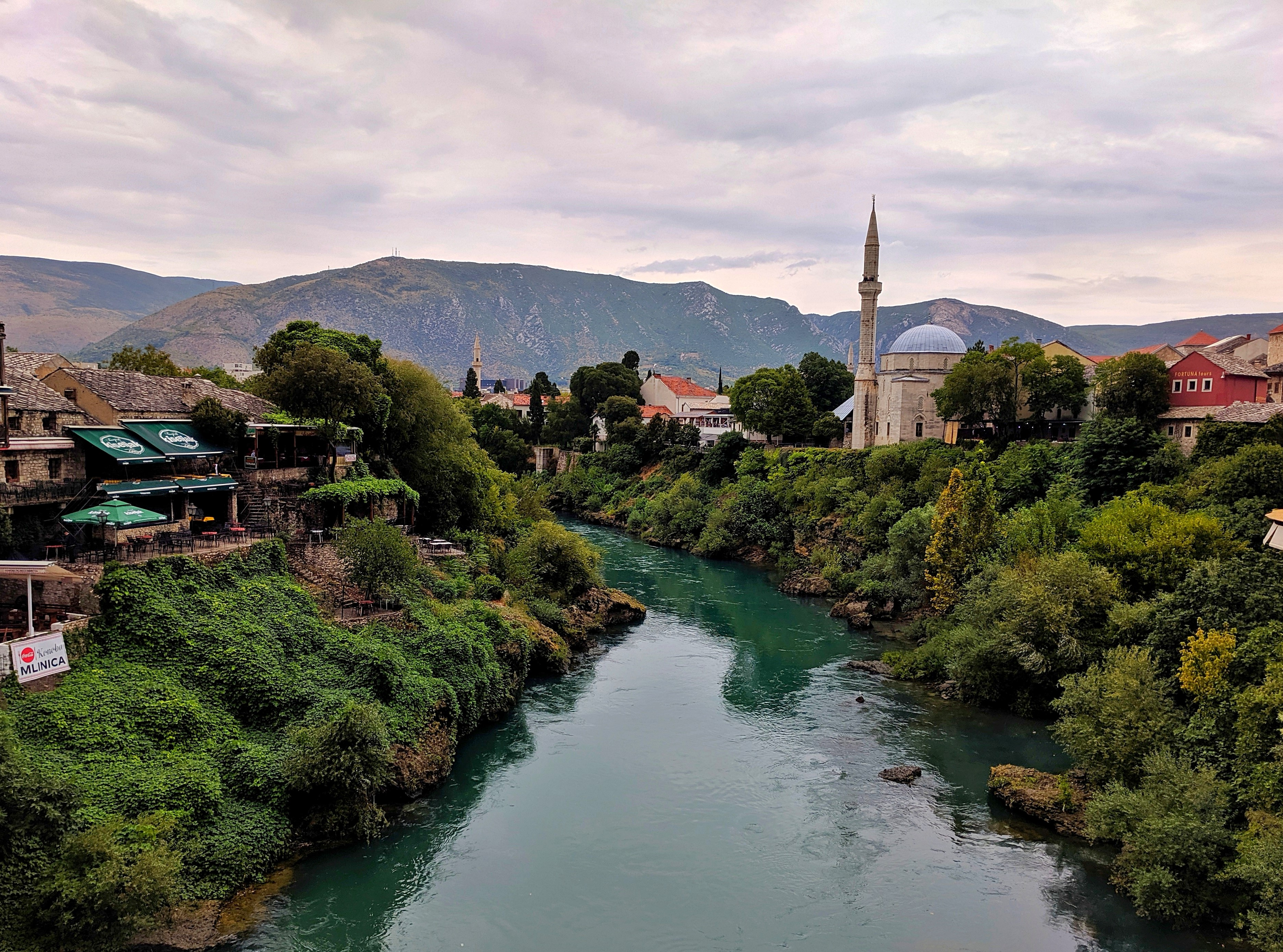 Neretva river in Mostar. View from the Old Bridge