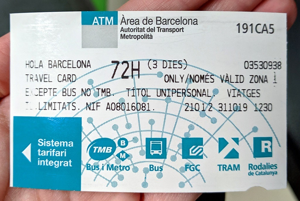 The ticket you can get for 3 days and get to Tibidabo in Barcelona