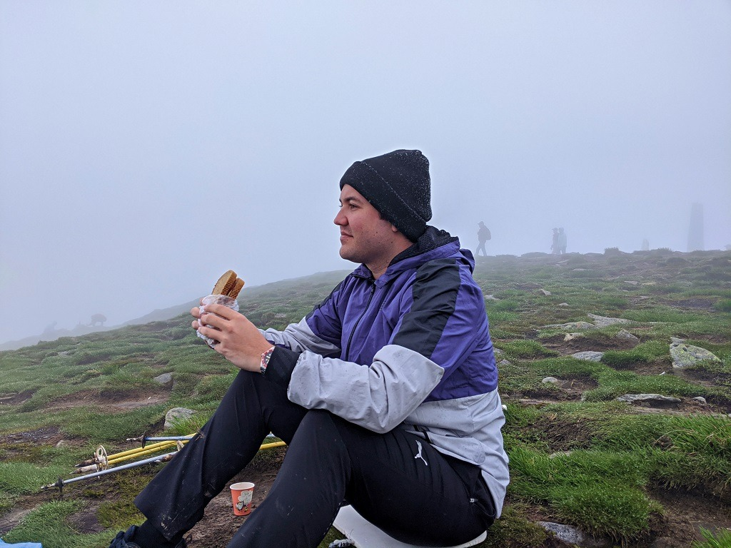 Cody at the top of Hoverla enjoying his lunch