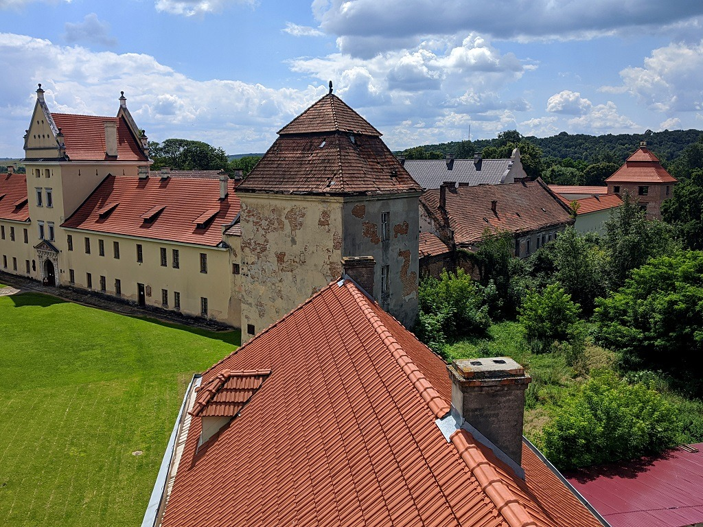View from the clock tower on the Zhovkva castle