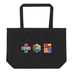 Black tote bag with the Queer Geek Logo