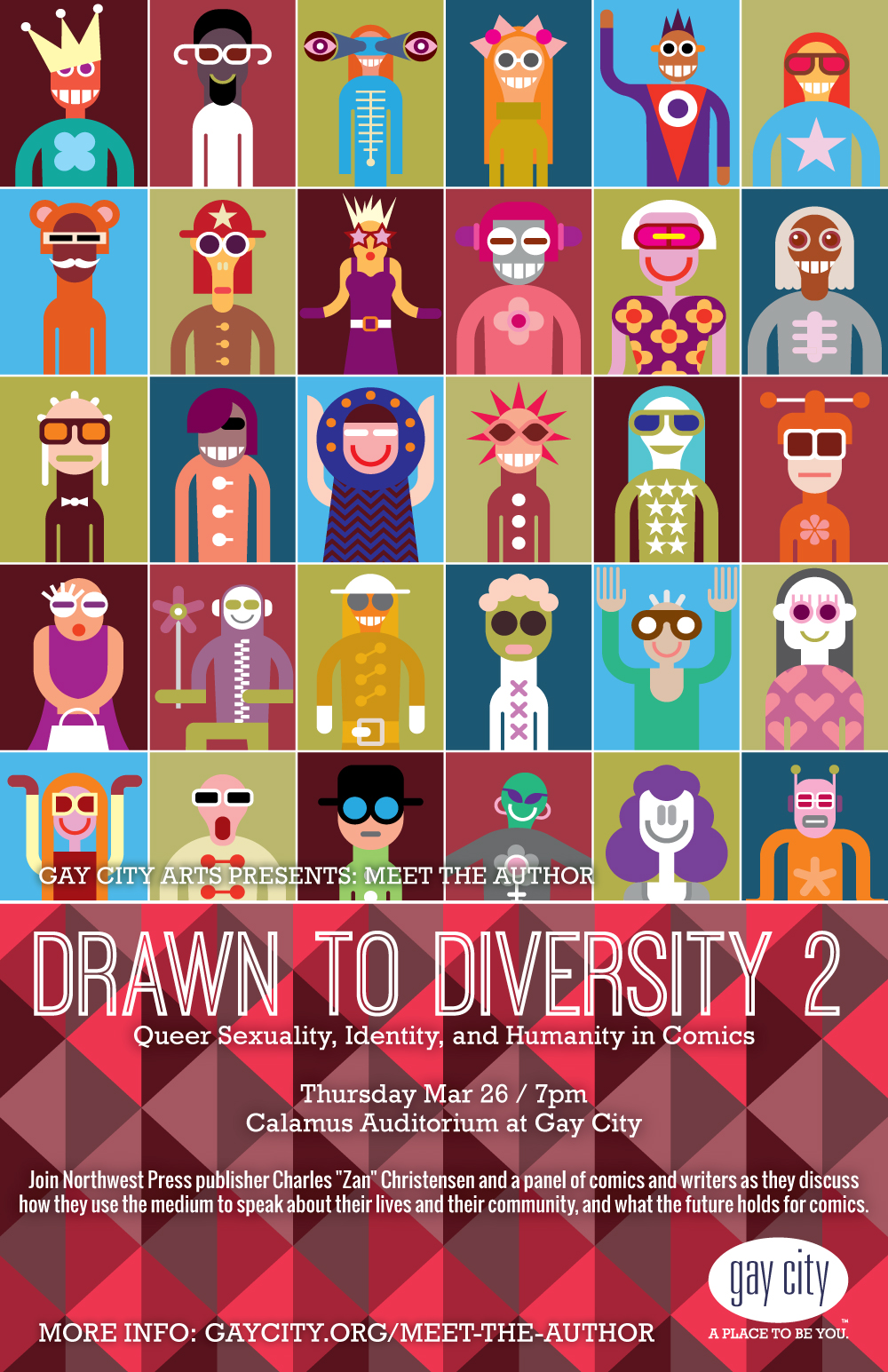 Poster for Gay City Arts: Drawn to Diversity