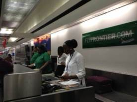 Working the first Frontier flight. Nearly all 138 seats were sold with around 115 passengers checked in.