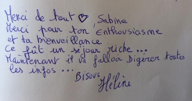 Commentaire de Hélène Stage mai 2019