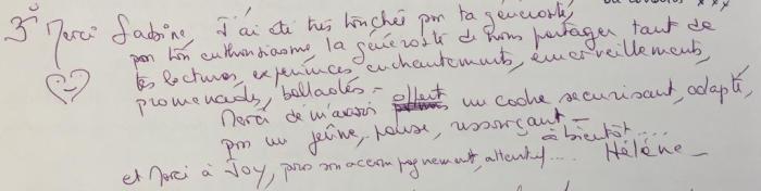Commentaire de Hélène Stage août 2019
