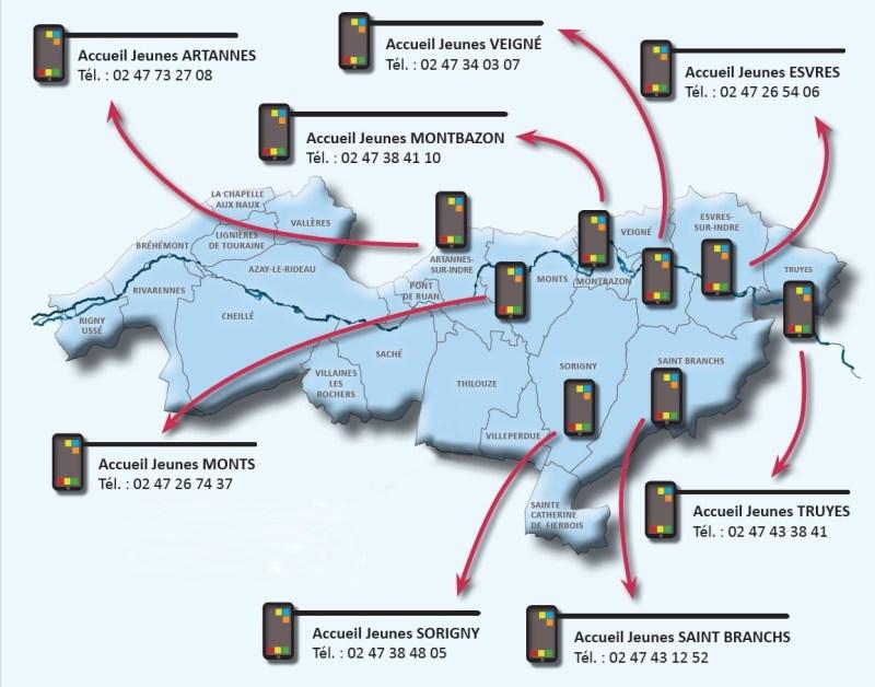 Carte des Accueils Jeunes sur le territoire