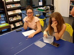 Marie et Anastasia s'assurent que chacun ait voté et assurent le dépouillement