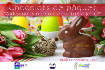 Affiche de la vente de chocolats de pâques - Junior Association ULTEAM