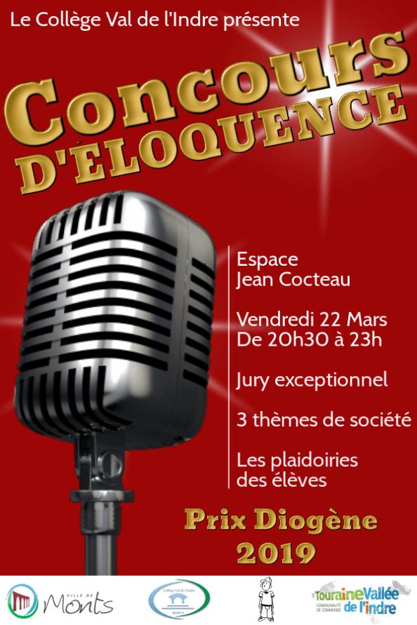 Affiche du Concours d'éloquence 2019 - Prix Diogène - du collège Val de l'Indre