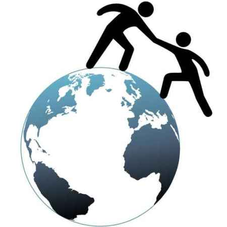 Helper reach out helps friend up top of world