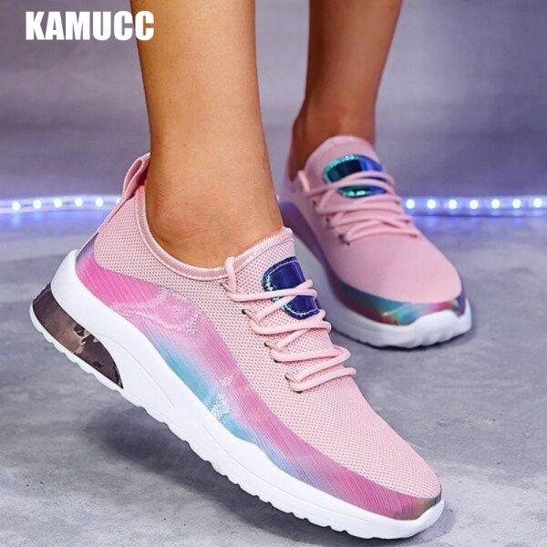 Women Casual Shoes Mesh Air-Cushion Flat Anti-Slip Women Sneakers