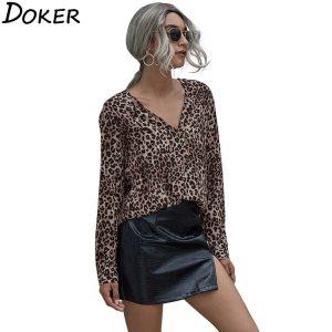 Leopard V-neck Long Sleeve Office Elegant Ladies Shirts