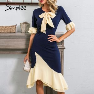 Women o-neck ruffled office dress Sexy mermaid casual elegant ladies party dress