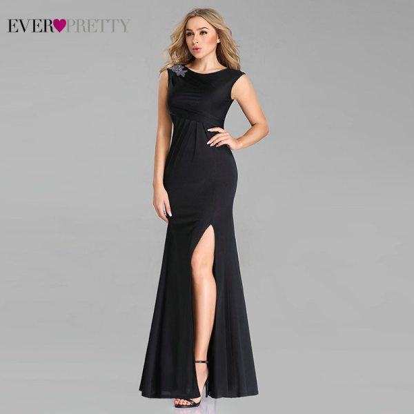 Black Evening Dresses Sexy Mermaid O Neck Cap Sleeve Appliques Long Formal Party Dress
