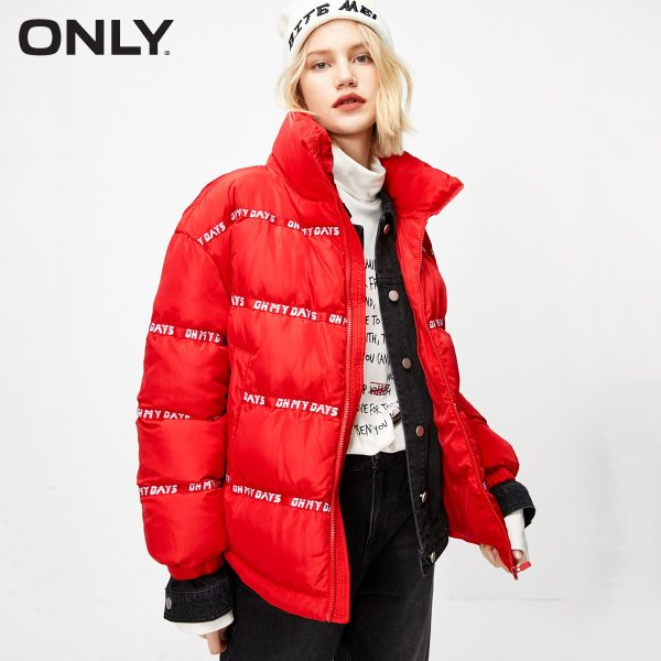Women's Loose Fit Letter Print Cotton Coat