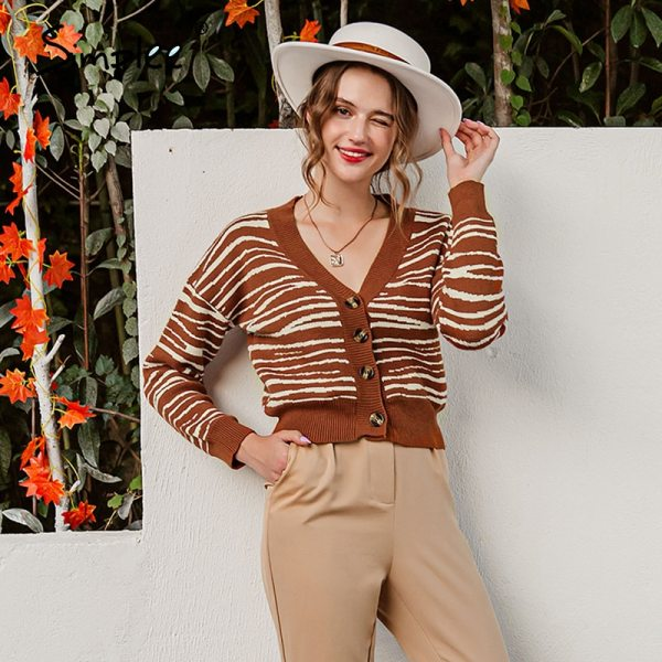 Brown stripe V-neck cross fashion female cardigan