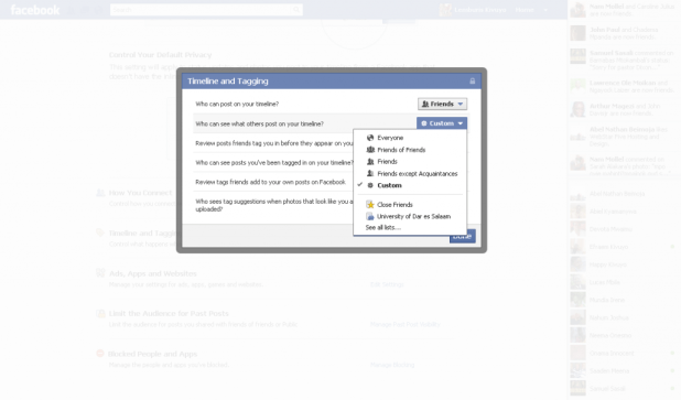 Set privacy setting to restrict others posting-advertising on your wall custom