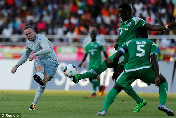Whyne Rooney play his first match with Everton in Tanzania