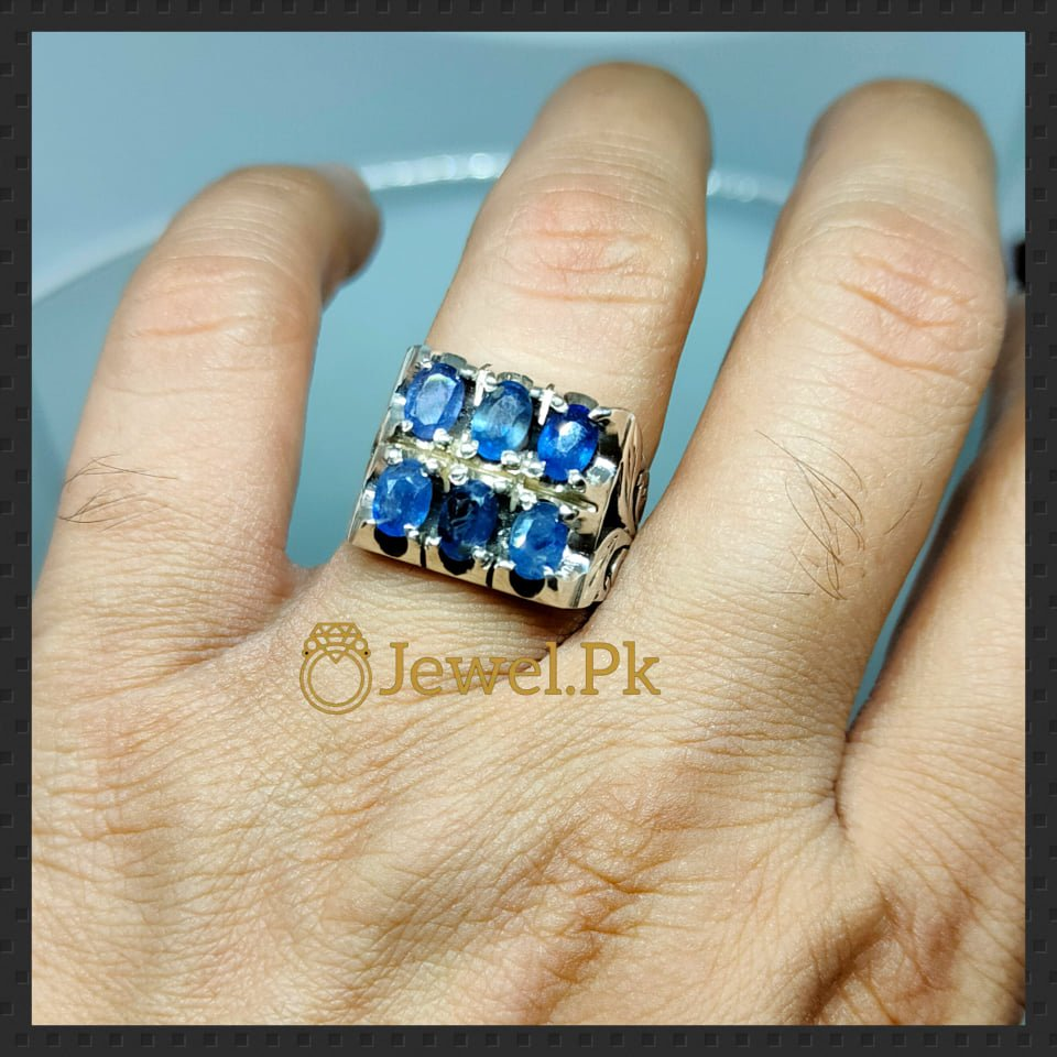 925 Silver Ring in Natural 6 Blue Sapphires 2 natural gemstones pakistan + 925 silver jewelry online