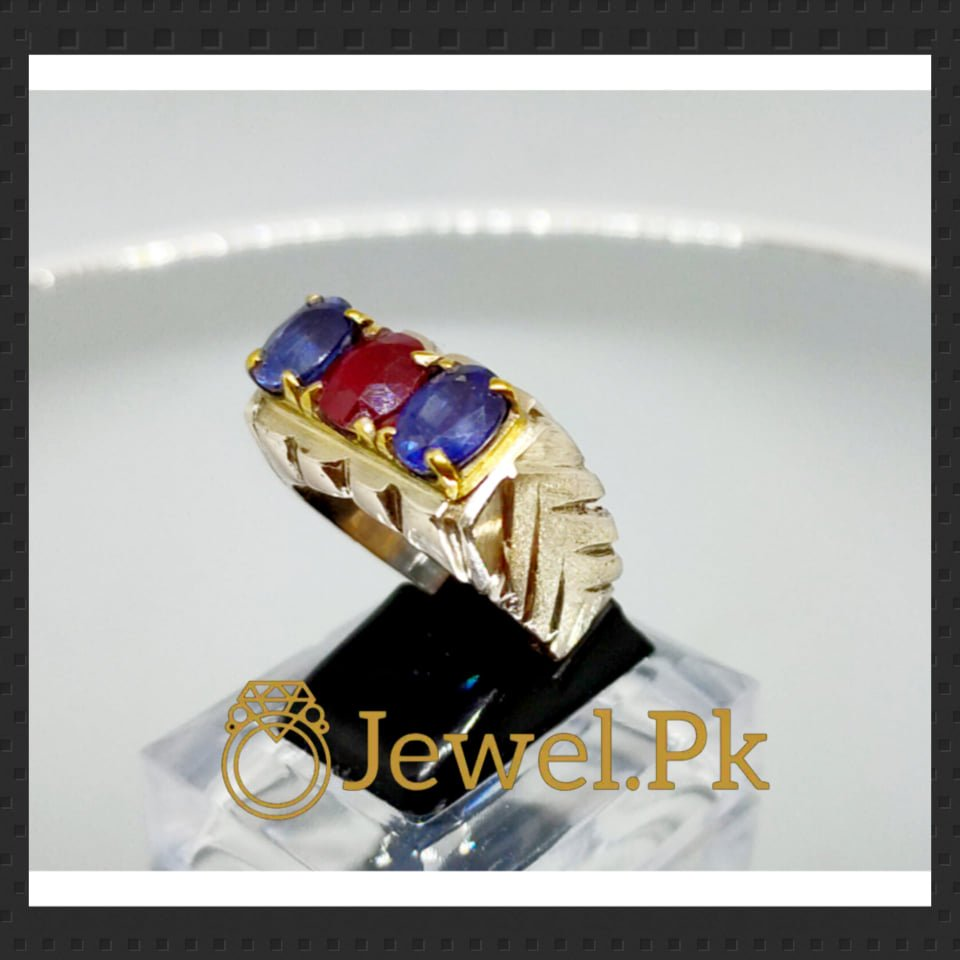 Natural Blue Sapphires and Ruby 925 Silver Ring,