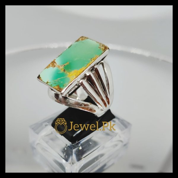 Natural Hussaini Feroza Turquoise Green in 925 Silver Ring