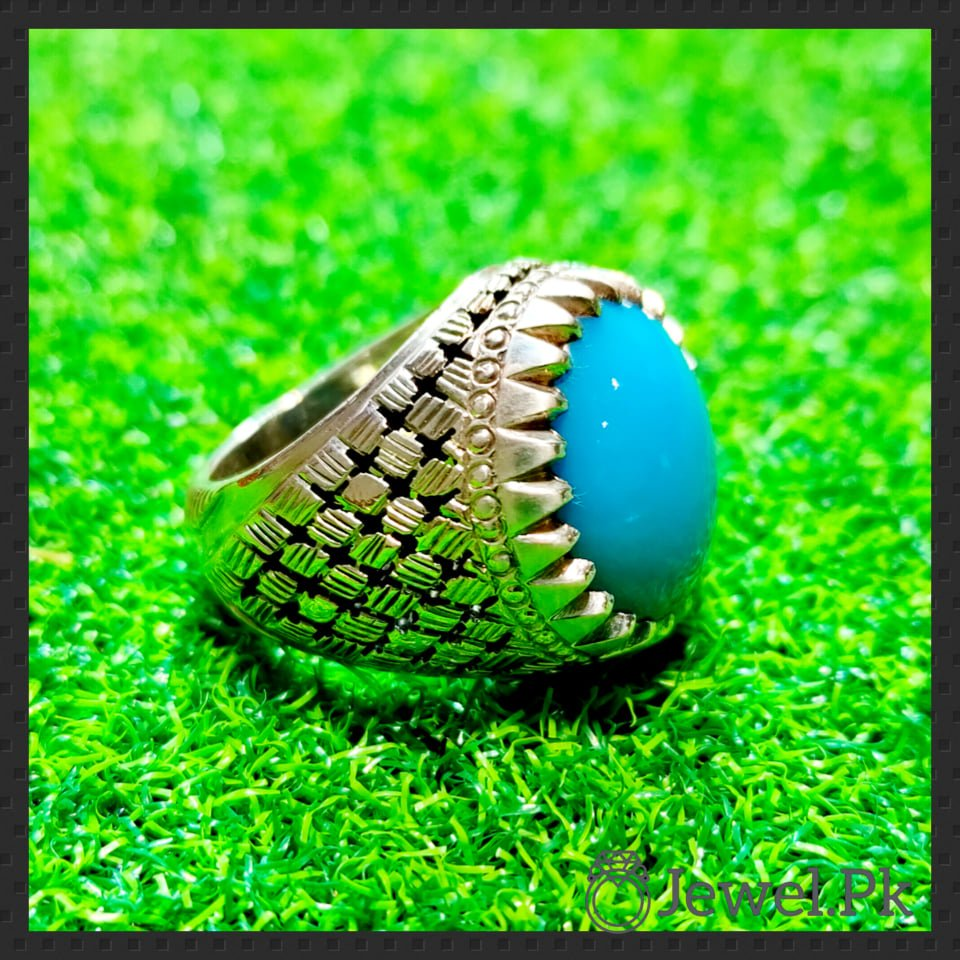 Natural Turquoise Ring - Feroza Chandi Ring