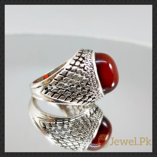 Aqeeq Ring - Irani - Yemini Aqeeq Agate stone - Red Brown Color