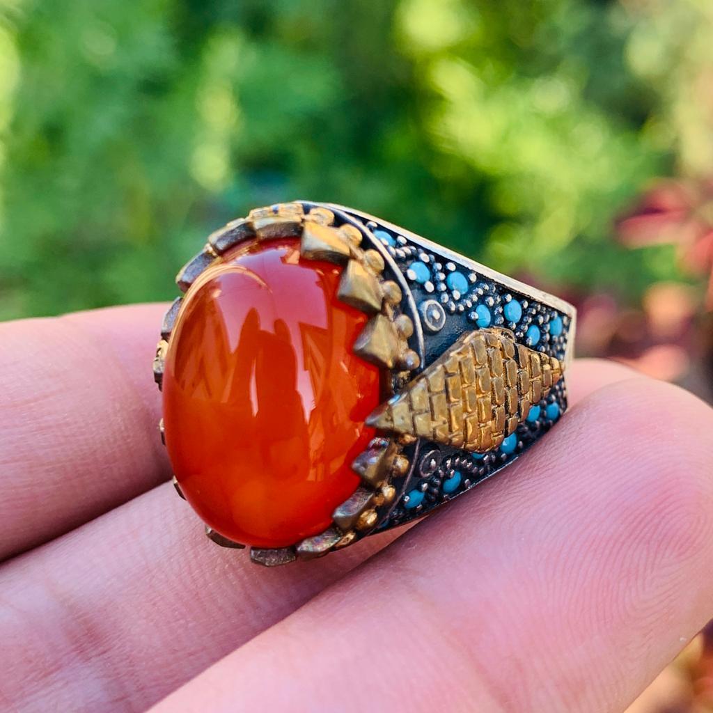 Amazing Red Aqeeq Silver 925 Turkish Ertugrul Ring Chandi (1)