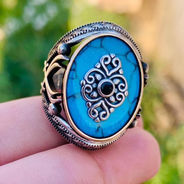 Turkish Rings buy online in Pakistan Silver 925 Ring Yemeni Feroza Turquoise