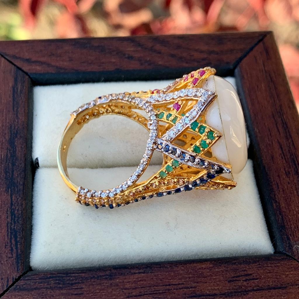 Luxury Italian Ring for Women + Handmad Sadaf Gemstone Gold Plated Ring