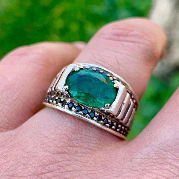 Natural Zambian Emerald Handmade ring silver 925 Zamurd riing