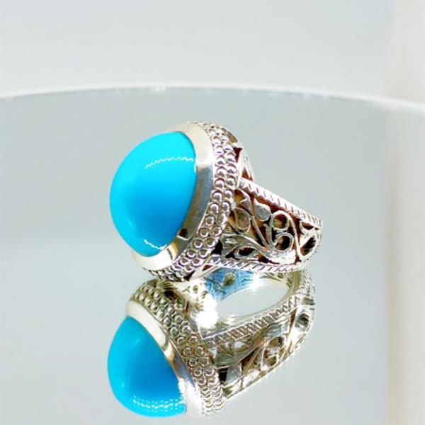 Natural Turquoise Ring 925 Silver + Nishapuri Feroza