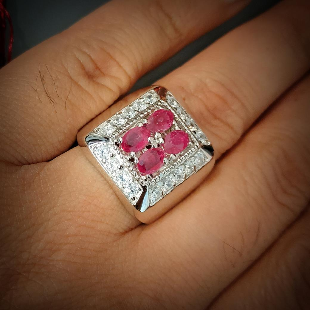 4 Pcs Ruby yaqoot ring buy online in pakistan 1 natural gemstones pakistan + 925 silver jewelry online