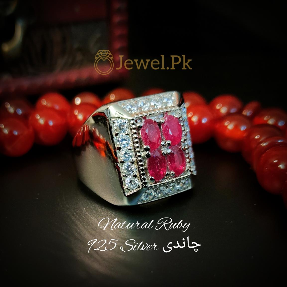 4 Pcs Ruby yaqoot ring buy online in pakistan 3 natural gemstones pakistan + 925 silver jewelry online