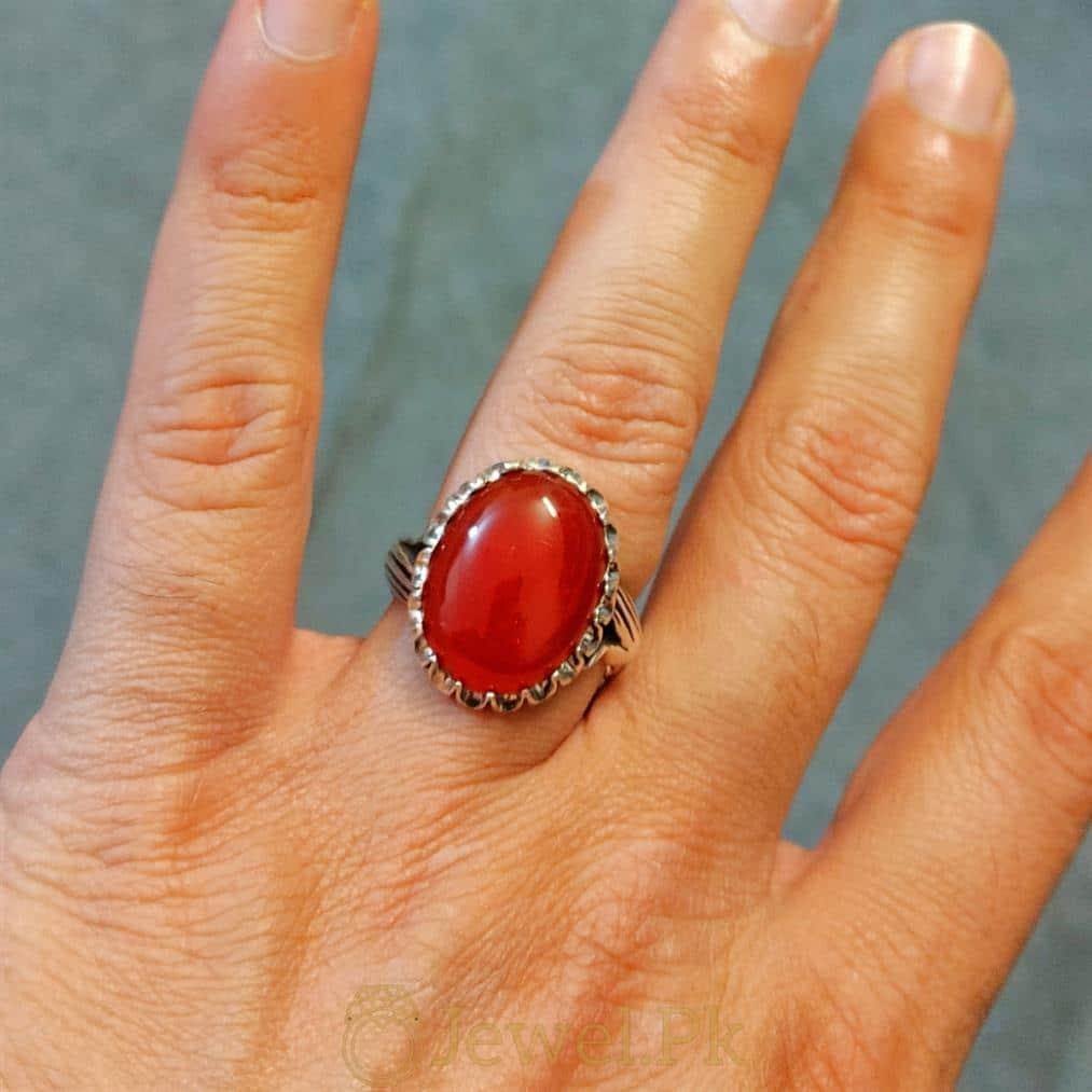 Beautiful Red Aqeeq Ring Yemeni Aqeeq Agate ring buy online 925 Silver Handmade Ring 3 natural gemstones pakistan + 925 silver jewelry online